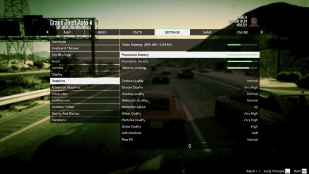 GTA 5 ustawienia grafika