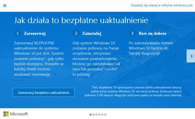 Windows 10 rezerwacja