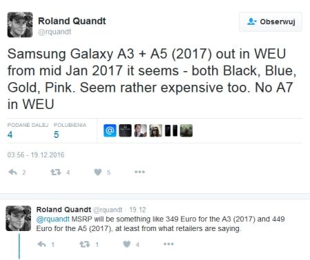 Galaxy A3 (2017) i Galaxy A5 (2017) ceny