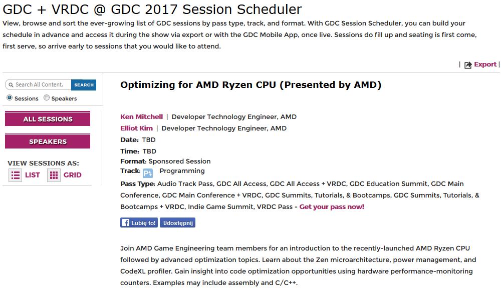 GDC 2017 - konferencja o procesorach AMD Ryzen