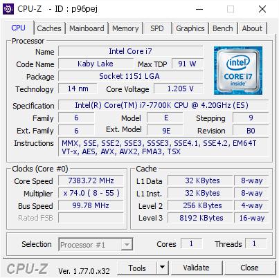 Intel Core i7-7700K - 7383MHz
