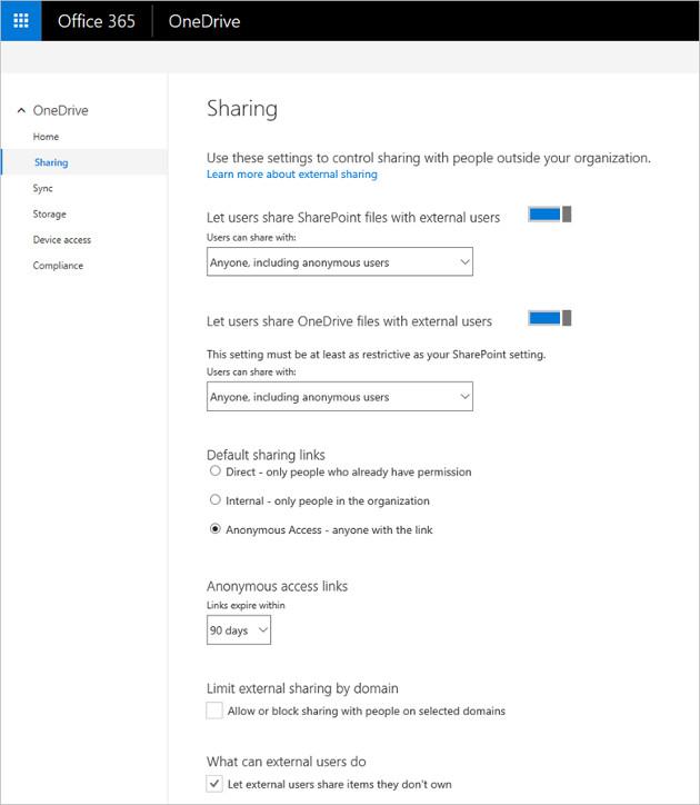 OneDrive panel