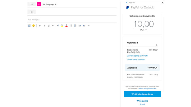 Outlook PayPal