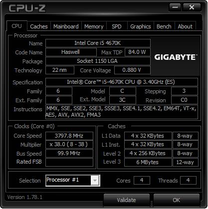 CPU-Z Gigabyte