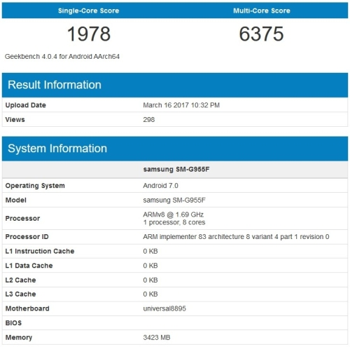 Galaxy S8 Exynos 8895 GeekBench