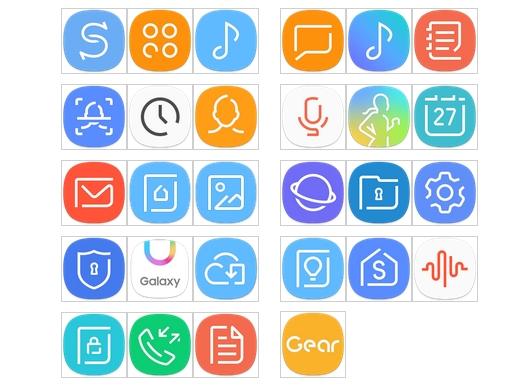 Galaxy S8 interfejs ikony