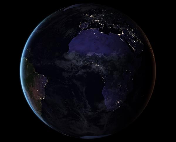 Europa i Afryka nocą