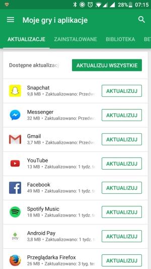 Google Play moje aplikacje aktualizacja