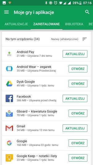 Google Play moje aplikacje