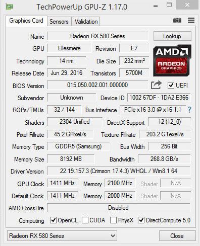 XFX Radeon RX 480 zmodyfikowany do RX 580