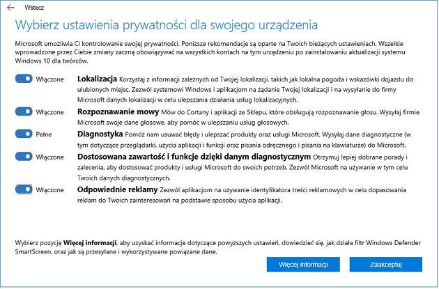 Windows 10 Creators Update prywatność