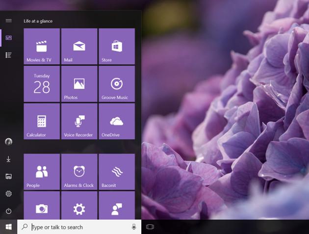 Windows 10 Creators Update menu