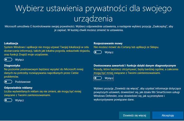Windows 10 prywatność nowi