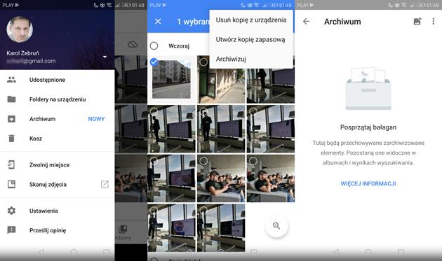 Google Zdjęcia archiwizacja