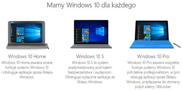 Windows 10 S wersje