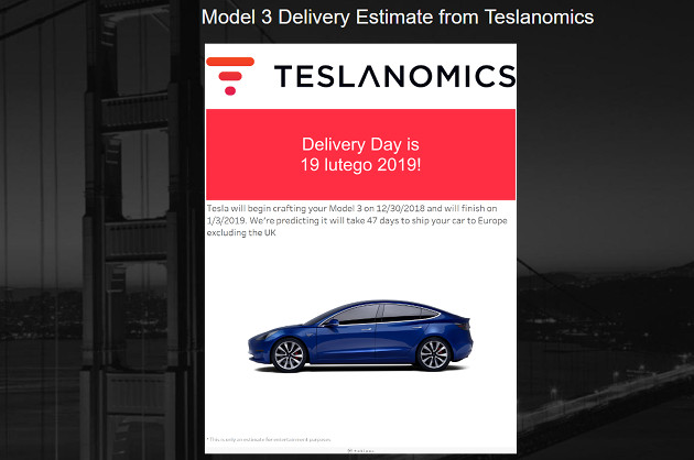 Tesla Model 3 dostawa