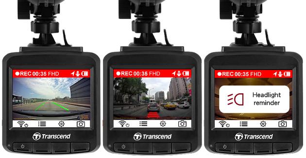 Transcend DrivePro 230 wideorejestrator ostrzeżenia