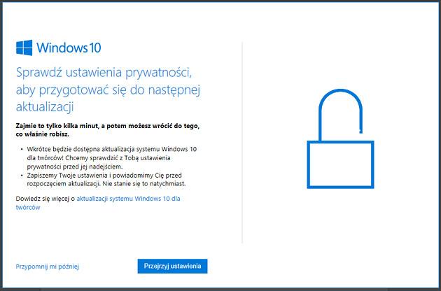 Windows 10 aktualizacja komunikat