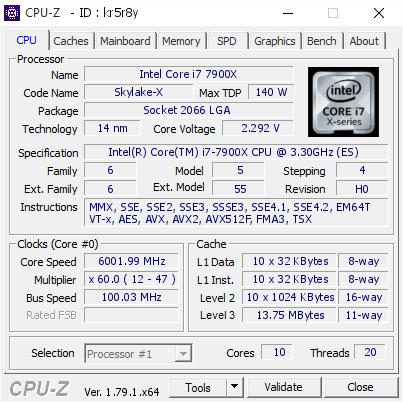 Intel Core i9-7900X - rekord podkręcania