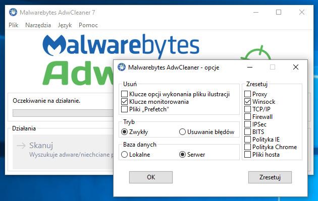 AdwCleaner opcje
