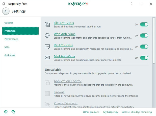 Kaspersky Free okno