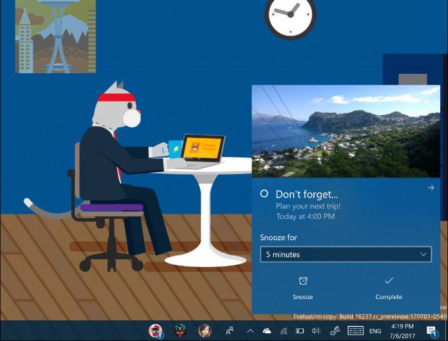 Windows 10 Fall powiadomienia