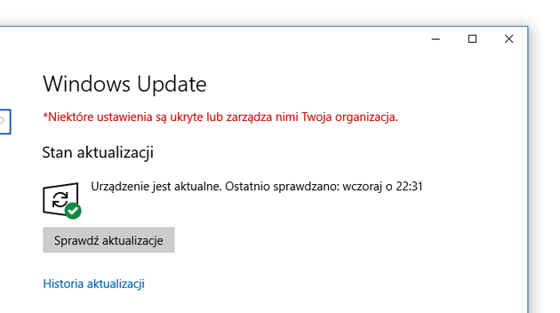 Windows 10 update status aktualny
