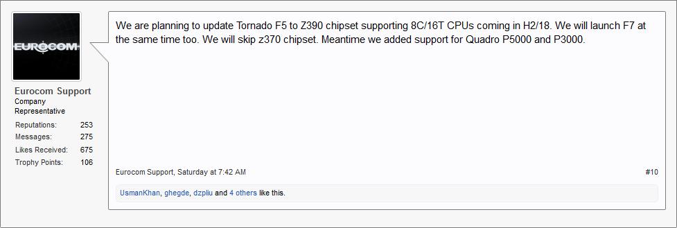 Notebookreview forum - Eurocom zapowiada modernizację laptopa Tornado F5 o chipset Intel Z390