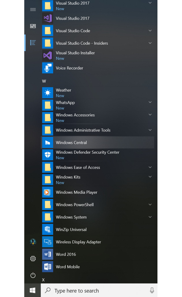 Windows 10 Start Fluent