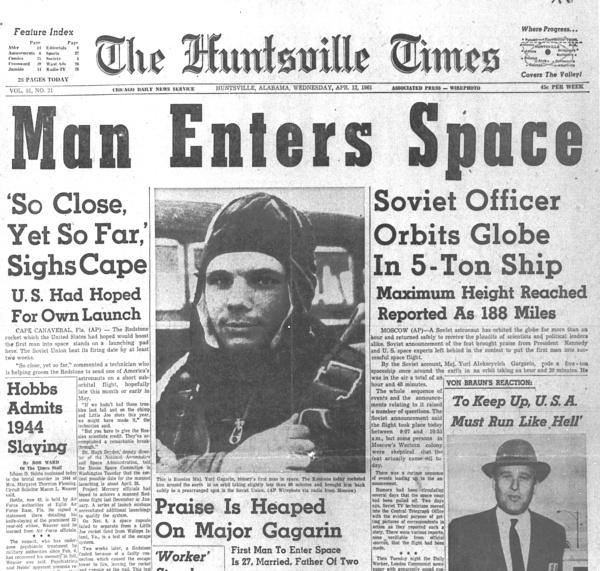 Lot Gagarina - nagłówki gazeta