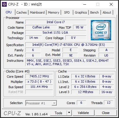 Intel Core i7-8700K - rekord podkręcania 7405 MHz
