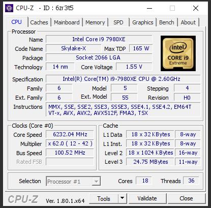 Intel Core i9-7980XE - rekord podkręcania 6232 MHz