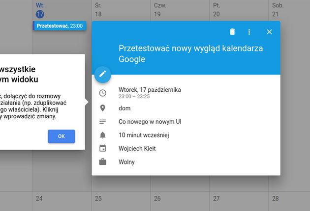 Nowy wygląd kalendarza Google - podgląd wydarzenia