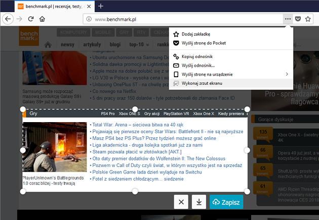 Firefox narzędzie do screenów