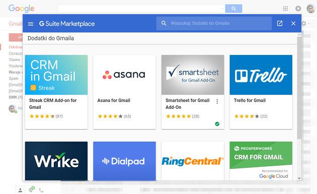 Gmail dodatki lista