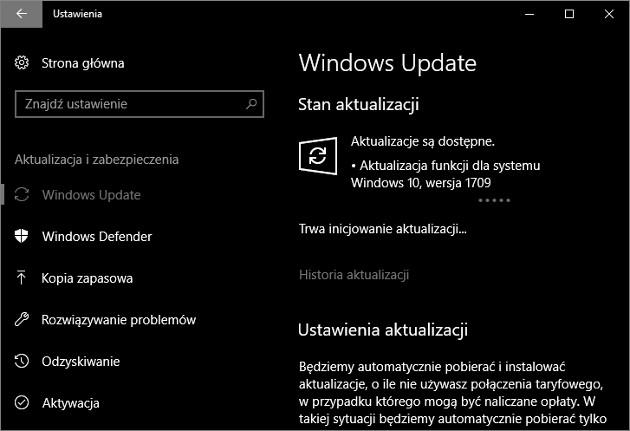 Windows 10 Fall Creators Update ustawienia
