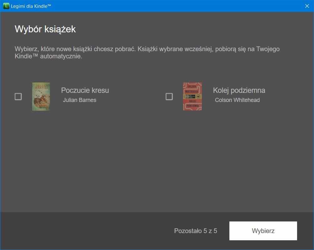 Legimi Kindle wybór książek