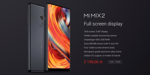Xiaomi Mi MIX 2 cechy