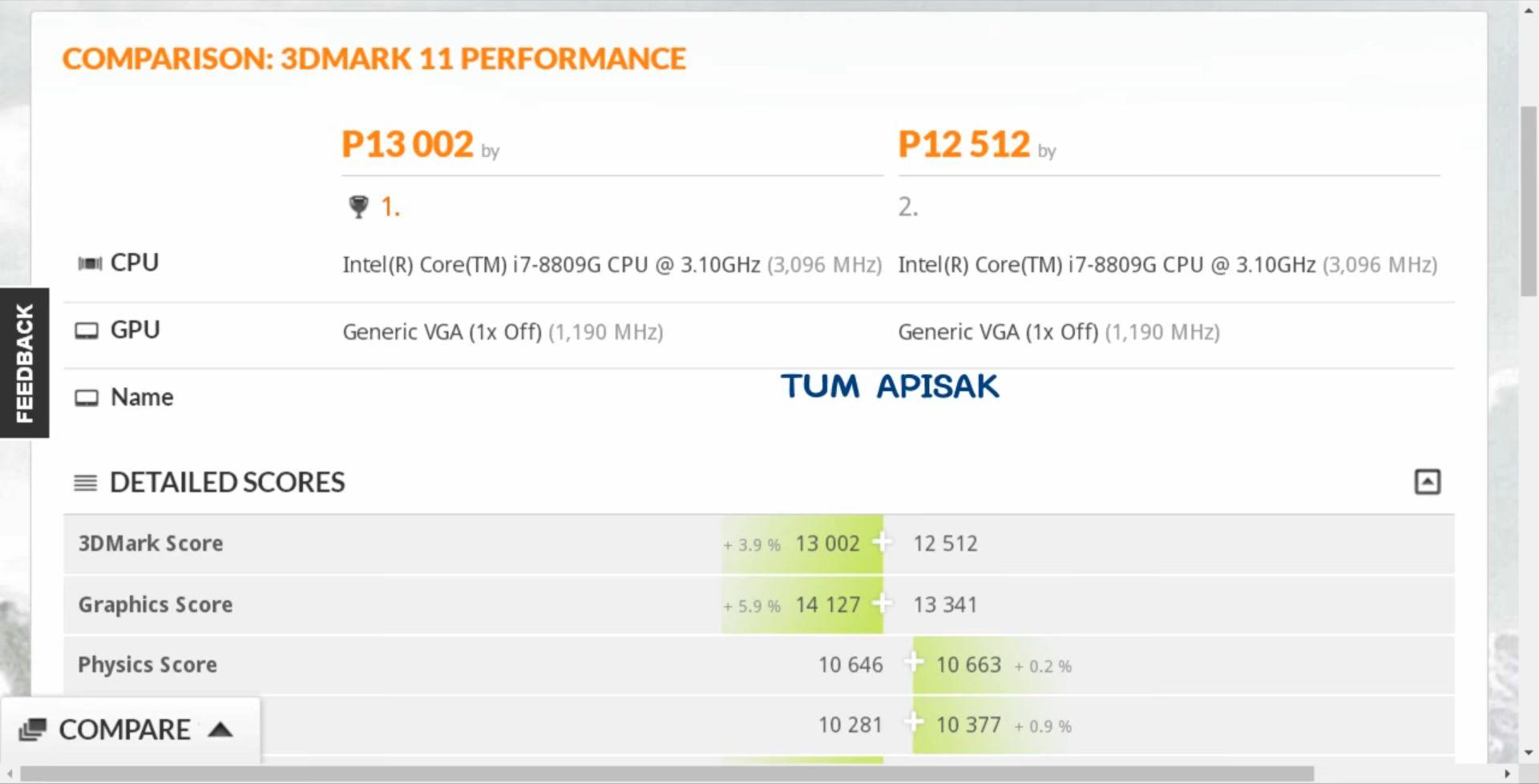 Intel Core i7-8809G - wydajność 3DMark 11