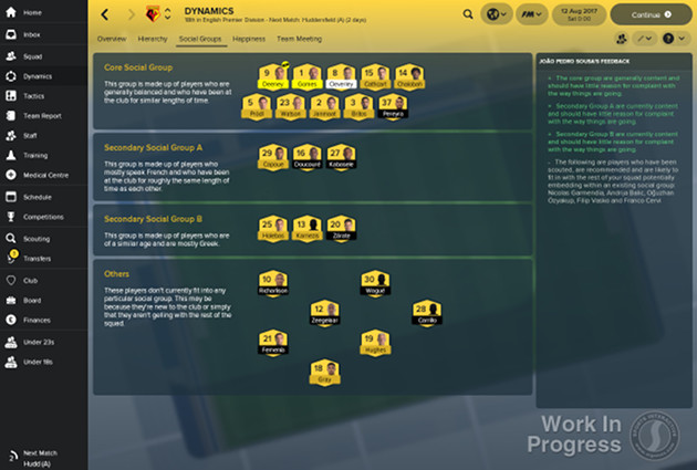 Football Manager 2018 screen dynamika