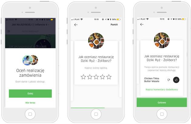 UberEATS ocena restauracji