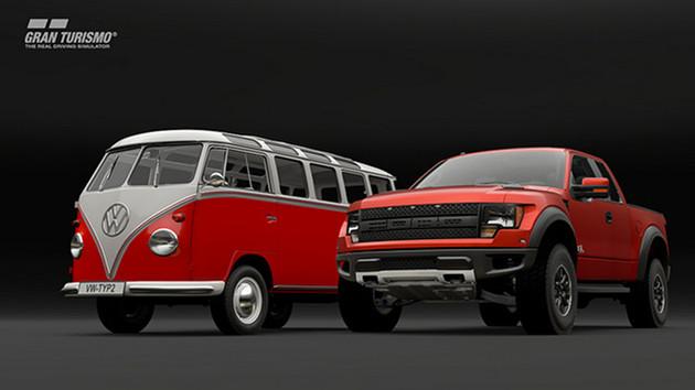 GT Sport auta Volkswagen Samba Bus Type 2 (T1) i Ford F-150 SVT Raptor
