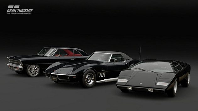GT Sport auta Chris Holstrom Concepts 1967 Chevy Nova, Chevrolet Corvette Stingray Convertible (C3) i Lamborghini Countach LP400