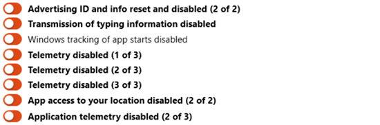 ShutUp10 - funkcje ponownie wlaczone po windows update