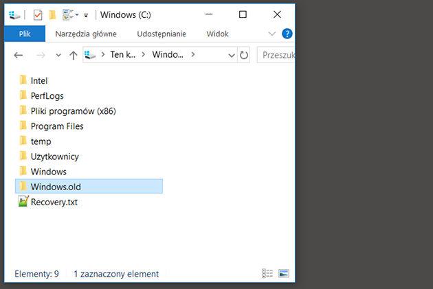 Oczyszczanie dysku po aktualizacji Windows 10
