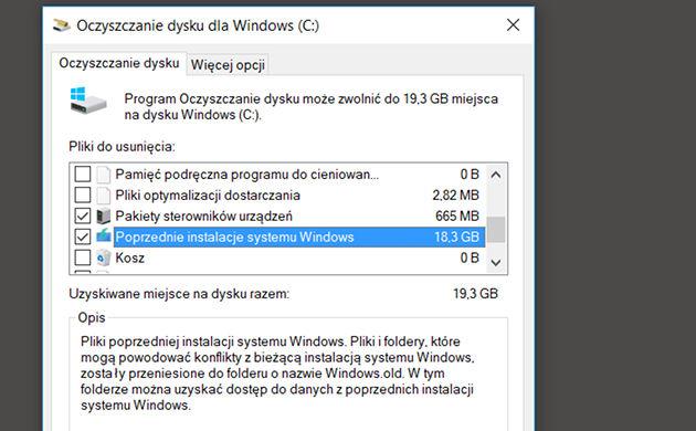 Windows 10 - Oczyszczanie dysku: Oczyść pliki systemowe