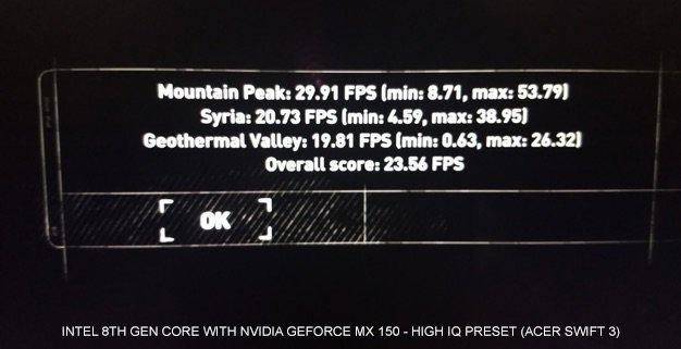 Intel Core i7-8550U + GeForce MX150 - wydajność