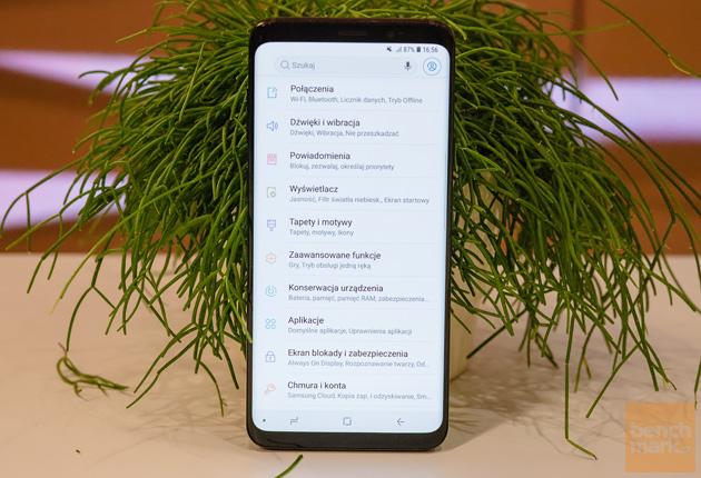 Samsung Galaxy S9+ ustawienia widok przód