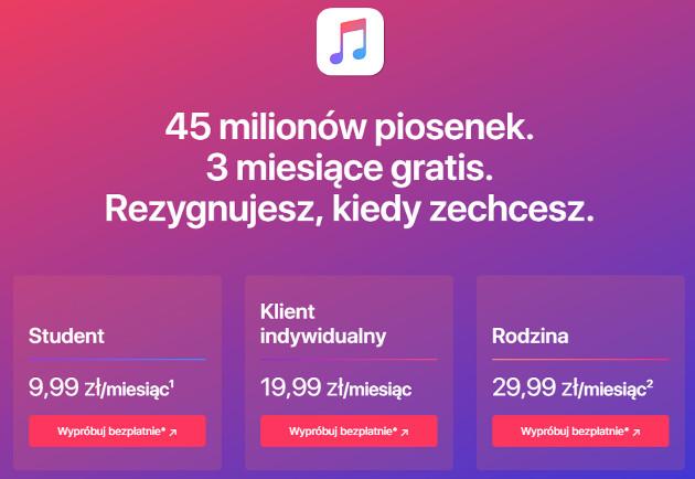 Apple Music cennik