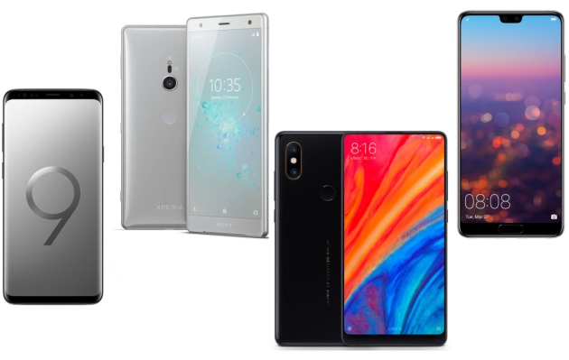 Galaxy S9+ vs Xperia XZ2 vs Mi Mix 2s vs Huawei P20 Pro